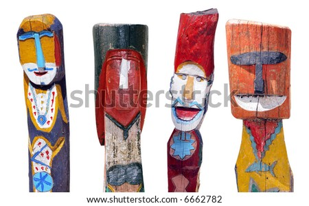 four colorful Thai moken totems isolated on white - stock photo