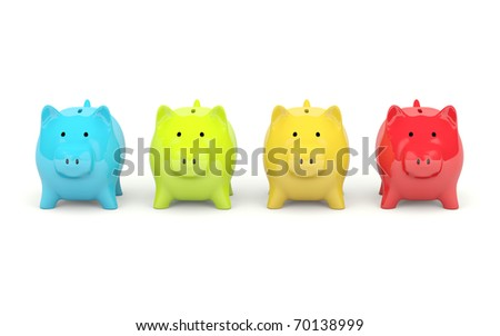 Four colors piggy bank isolated on white - stock photo