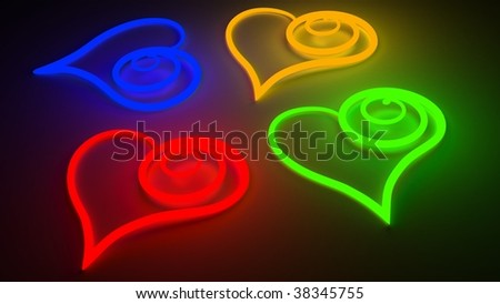 Four colour hearts from a neon