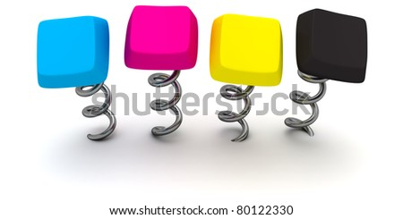 Four computer keys in CMYK colours on springs - stock photo