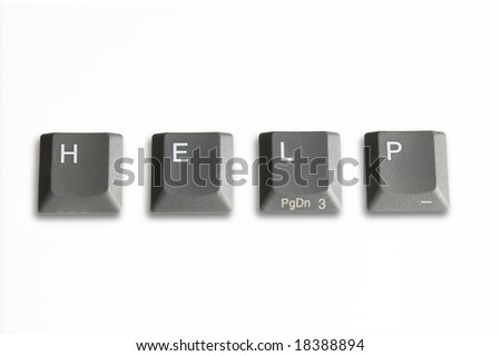 four computer keys isolated on white with clipping path