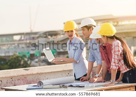 Four construction engineer working in construction site, construction engineering conceptual