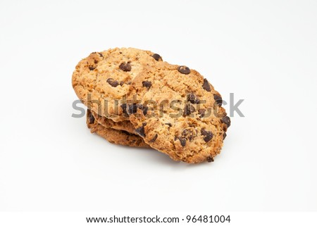 four cookies for snacks with chunks of chocolate
