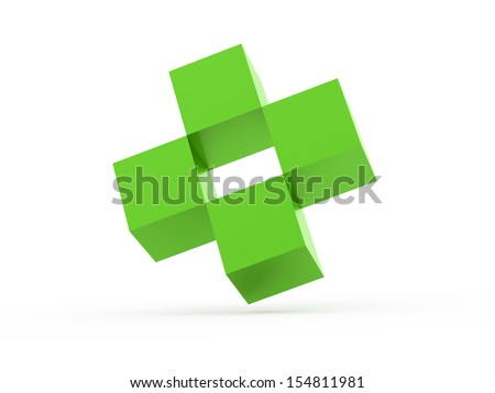 Four cubes icon concept rendered on white background - stock photo