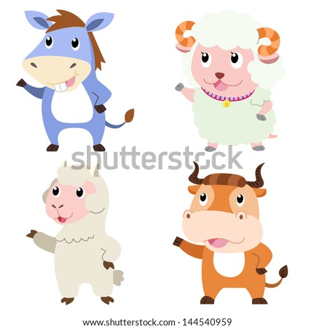 four cute animals with white background. - stock photo