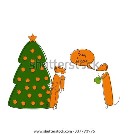 Four cute brown contoured foxy colored dachshunds. One with camera, another with small puppy in paws and big puppy standing near, decorated Christmas tree, speech bubble with lettering Say cheese - stock photo