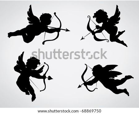 Four cute Valentine's angel silhouette - stock photo