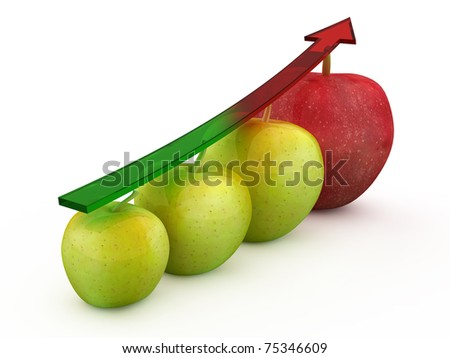 Four 3d apple fruit in different colours - stock photo