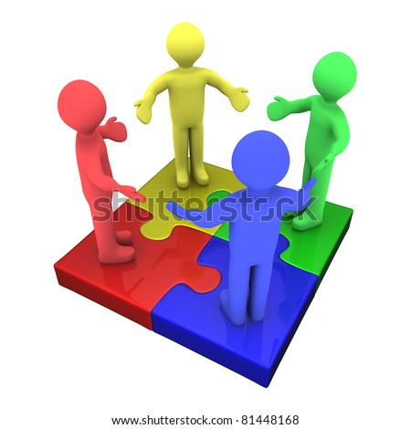 Four 3d colored people on top of puzzle pieces make a puzzle - stock photo