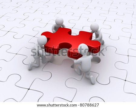 Four 3d people completing the puzzle - stock photo