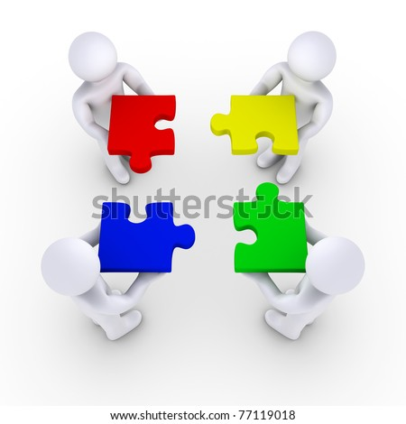 Four 3d people holding puzzle pieces - stock photo