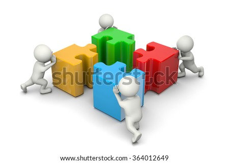 Four 3D People Pushing Four Different Color Puzzle Pieces on White Background, Cooperation Concept Illustration