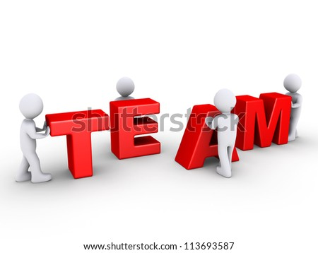 Four 3d persons are pushing team letters