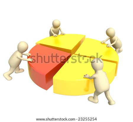 Four 3d puppets, making the round diagram. - stock photo