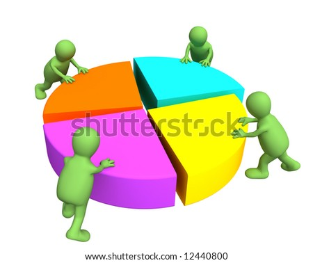 Four 3d puppets, making the round diagram. Object over white - stock photo