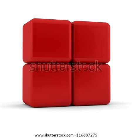 Four 3d simple red cubes with blank faces and equilateral sides that are bevelled , rounded and shaped stacked one on top of the other in a 2x2 formation on a white background - stock photo