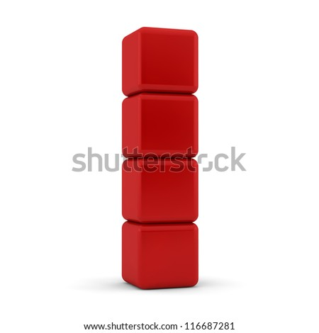 Four 3d simple red cubes with blank faces and equilateral sides that are bevelled , rounded and shaped stacked one on top of the other in a tower formation on a white background - stock photo