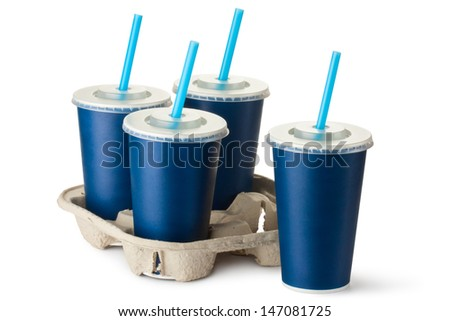 Four dark blue takeout cups with a cup holder. Isolated on a white. - stock photo