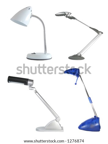 Four desklamps, isolated - stock photo