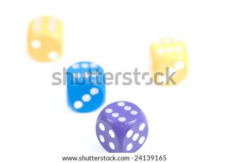 Four dices with six dots. Shallow DOF - stock photo