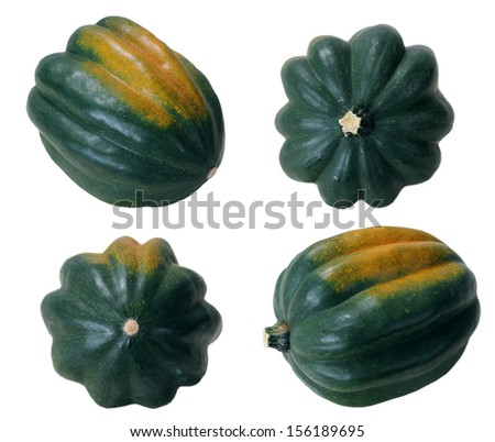 four different angle view of an acorn squash - stock photo