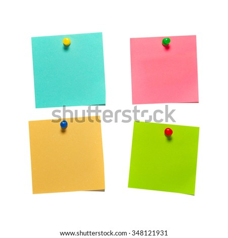 Four different color paper stickers with pins isolated on white background - stock photo