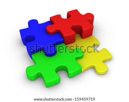 Four different colored 3d puzzle pieces are connected