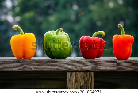 Four different colored peppers on a wood ledge - stock photo