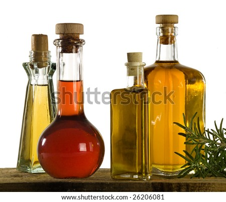 four different kind of oil - stock photo