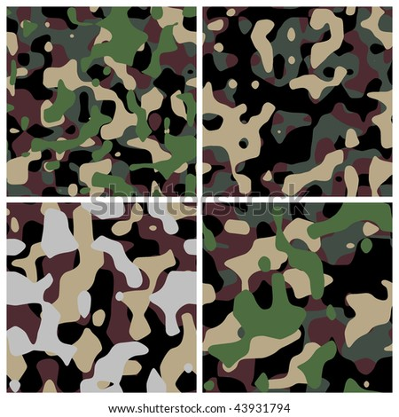 Four different military camouflage textures - stock photo