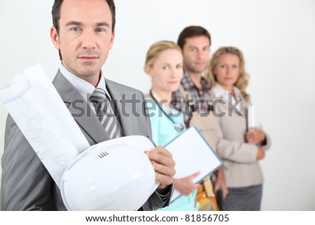 Four different occupations - stock photo