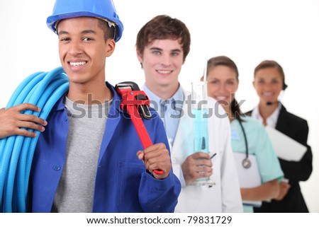Four different professions with focus on plumber - stock photo