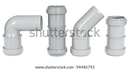 four different PVC fittings - draining straight and elbow pipes - stock photo
