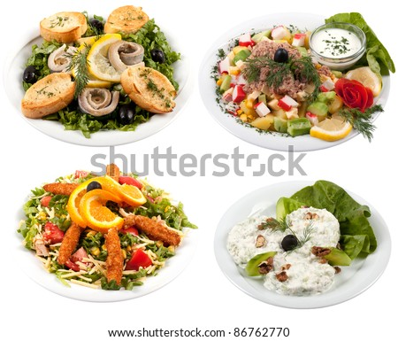 Four different salads isolate on white background - stock photo