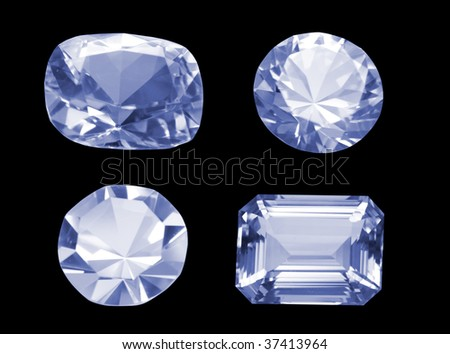Four different shaped diamonds isolated on black