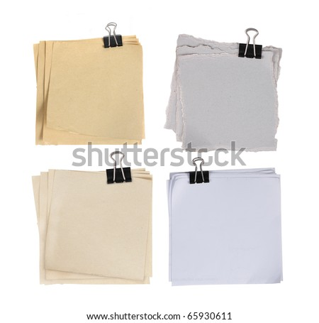 four different types of paper attached with paper clip - stock photo