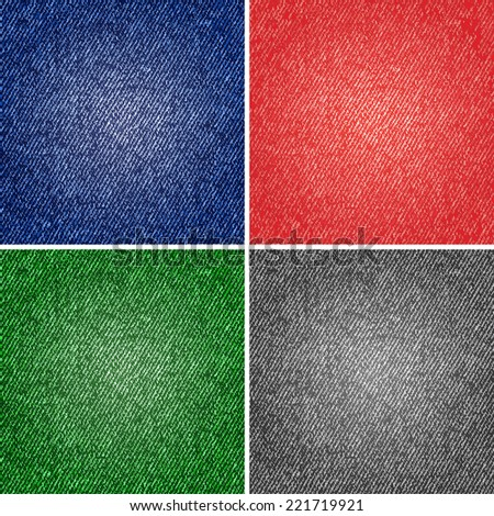 Four different versions of the jeans texture. Raster version - stock photo