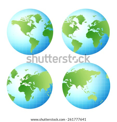 four different view of a 3d world globe - stock photo