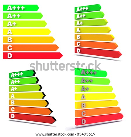 Four different views of the new EU-Regulation / Energy Efficiency Class Bars / on white with soft shadow - stock photo