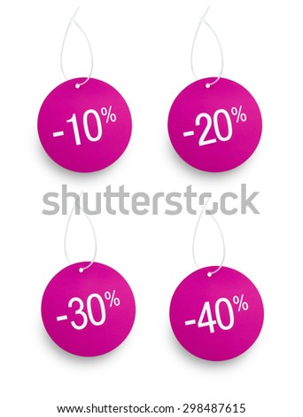 Four discount sale tags in purple color against white background. 10 off, 20 off, 30 off,40 off - stock photo