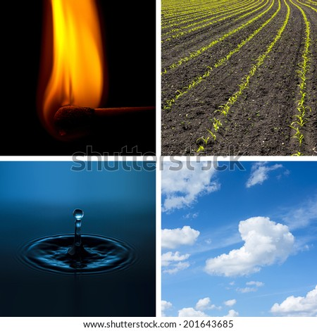 Four Elements Air Fire Water Earth collage - stock photo