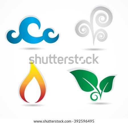 Four elements - collection of traditional, classic symbol icons.