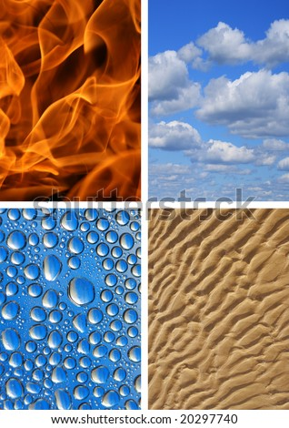 Four elements. Earth, Water, Air, Fire. - stock photo