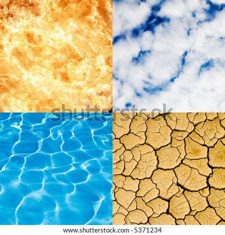 four elements - water, fire, sky, earth - stock photo