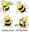 four emotion bee comic character - stock vector