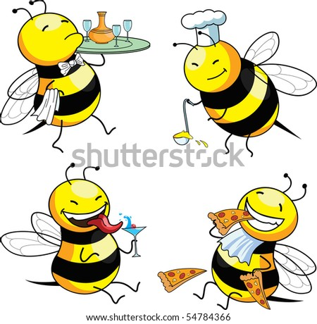 four emotion bee comic character - stock photo