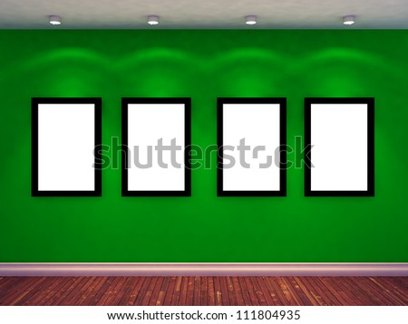 four empty photo frame on green wall and four spot lights. exhibition concept. 3d render