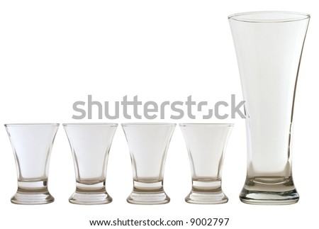 four empty shots and one empty beer glass - stock photo