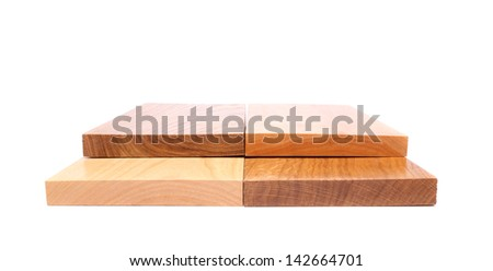 Four ends boards (acacia, oak, elm, lime) on a white background