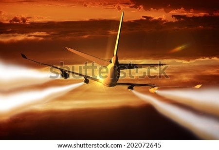 Four-Engine Airliner Flight Rear View. Modern Commercial Airplane in Flight at Sunset. Chemtrails. - stock photo